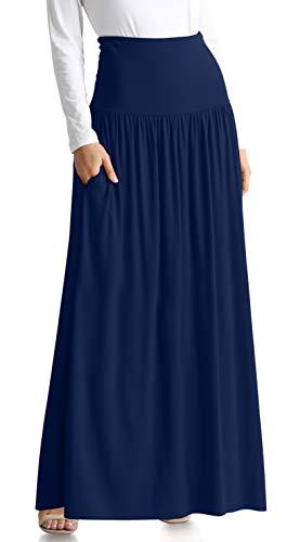 Navy Blue Skirts for Women Reg and Plus Size Long Skirt Navy Blue Maxi Skirt Ankle Length Skirt Casual Maxi Skirt Womens Long Skirt (Size XXX-Large, Navy Ankle-Length)