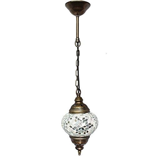 Plafonnier suspendu, lampes mosaïques, lampes turques, lanternes marocaines, verre coloré, taille 2, blanc, nuit arabe