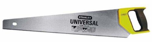 Stanley 1-20-003 Scie Égoïne Universelle Fabriquée En France - Moyenne/Petite Section - 450 Mm - Lame En Acier - Poignée Bi Matière - Traçage À 45° Et 90