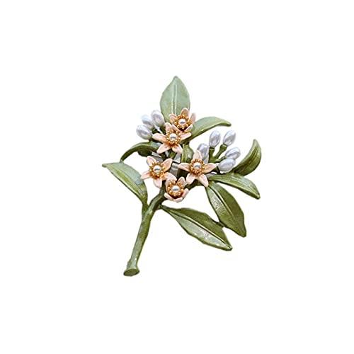 Broche de Neroli de perlas de plantas de Color verde Vintage, broches de esmalte de flores de árbol para mujer, accesorios de abrigo