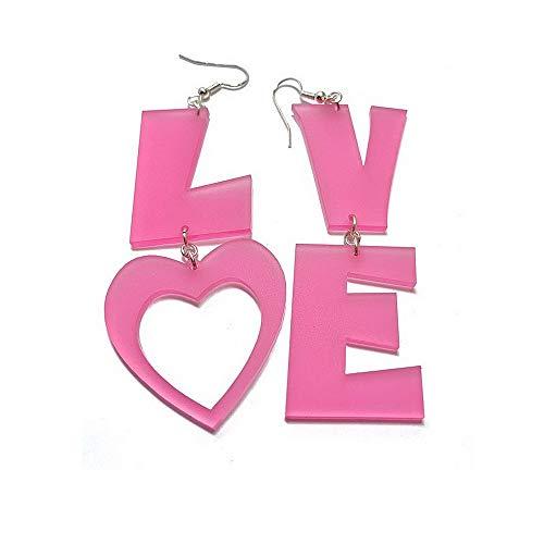 Letters Love Dangle Earrings Love Heart Pink Acrylic Fashion Earrings for Women Girls Valentine's Day Girlfriends Gifts