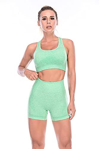 ArcherWlh Leggings Sexy,Corredor de Yoga Caliente Fitness Pantalones Traje de Cintura Alta Pantalones Cortos de Deporte Femenino Sujetador de Ropa Interior Pantalones Traje-Verde_S