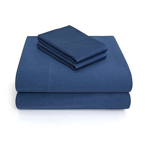 Vivendi Luxury Sateen 100% Cotton 4 Piece Sheet Set - Twin, Navy