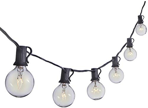 Sterno Home GL42958 100 FT Dimmable Clear Globe Outdoor Lights, 100-Feet, Black