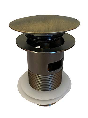 Vetrineinrete® Piletta di scarico universale 1/4' in ottone bronzo per lavandino pop-up tappo a pressione 98 mm A78