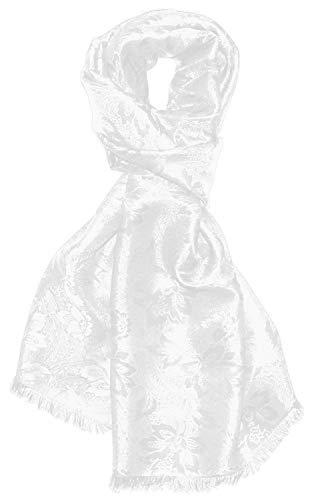 Lorenzo Cana Herren Schal Luxustuch elegant gewebt in Damast Webung florales Paisley Muster aus Viskose mit Seide modischer Männerschal weiss 55 cm x 190 cm