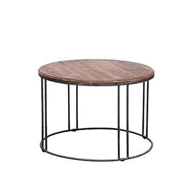 Mid-Century Modern Vintage Reclaimed Wood-Iron Round Coffee or Tea Living Room Table