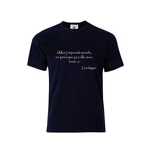 Mygoodprice T-Shirt col Rond Citation Kaamelott Leodagan Merde Bleu XL