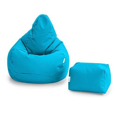Loft 25 Bean Bag Gamer Chair   Outdoor Indoor Living Room BeanBag Seat   Water Resistant   Ergonomic Design for Body Support   Durable & Comfortable (Bean Bag + Footstool, Aqua)