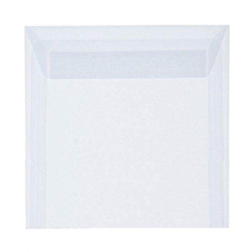 Briefumschläge, Umschläge, Kuverts quadratisch 155x155 mm mit Haftstreifen (15,5x15,5 cm) - transparent; 25 Stück