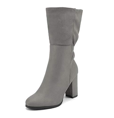 DREAM PAIRS Women's Light Grey Mid Calf High Heel Boots Size 5.5 M US Deeanne-2