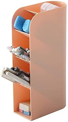 TEPET Caja de Almacenamiento de Escritorio Vertical Maquillaje de plástico Multifuncional Papelería para el hogar Caja de Acabado Soporte para bolígrafo Estuche para lápices para Estudiantes Rosa