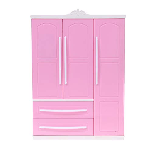 IYSHOUGONG Three-Door Pink Modern Wardrobe for Dolls Furniture Clothes Accessories Toys