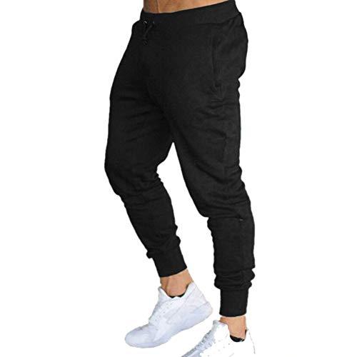 LeerKing Pantalones Deportivos Hombres Joggers Pantalones de Chándal Casuales con Cordón Jogging Deporte Largos Ajustados, Negro 2XL