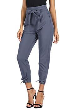 GRACE KARIN Women s Pants Trouser Slim Casual Cropped Paper Bag Waist Pants M Blue-Gray