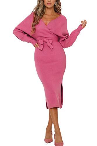 Pulloverkleid Damen Kleider Elegant Strickkleid V-Ausschnitt Langarm Tunika Kleid Minikleid Mit Gürtel (XCL-1, L)