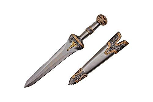 "Wuu Jau H-73 Roman Dagger with Scabbard, 14"", Brass Finish"