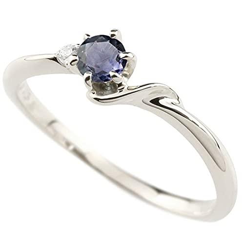 [アトラス]Atrus 18金リング レディース 指輪 ホワイトゴールドk18 アイオライト ダイヤモンド イニシャル ネーム S ピンキーリング 華奢 アルファベット 31号