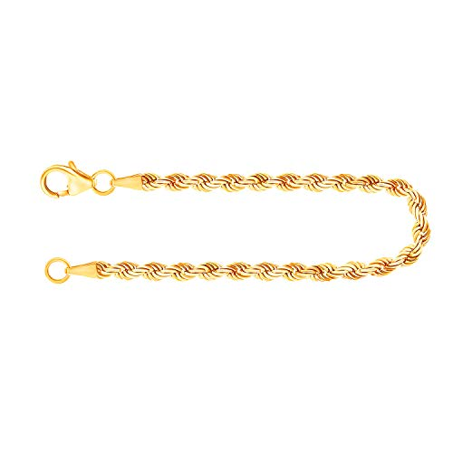 Pulsera para mujer de oro real de 2.7 mm, pulsera cadena de cuerda hueca oro amarillo 14 k 585, pulsera de oro con sello, con cierre de langosta con lazo, long. 18 cm, p. 2,1 g, Hecho en Alemania