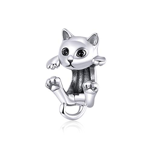 BAMOER Cat Bead Charm Argento 925 Cute Charms Gatto Compatibili Pandora Bracciale per Donna e Ragazze