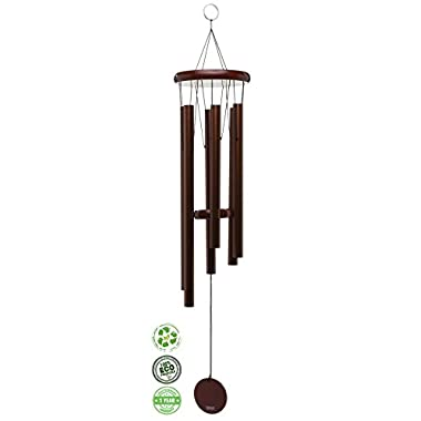 Brooklyn Basix Freedom Chime for Patio, Garden, Terrace and Balcony - Beautiful Outdoor Decor - Easy to Install Wind Chimes - Durable and Hand Tuned (Cherry/Bronze, Medium 29 )