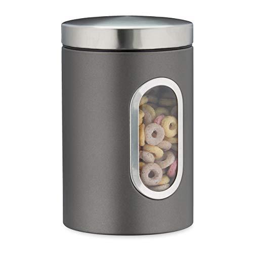 Relaxdays Vorratsdose, mit Deckel & Sichtfenster, 1,4 L, für Kaffee, Mehl, Pasta, Aufbewahrungsdose Küche, Metall, grau