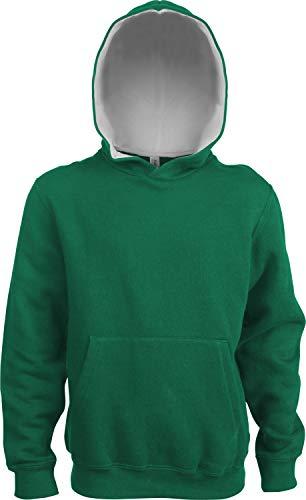Kariban Sweat-Shirt Capuche CONTRASTÉE Enfant - Light Kelly Green/White, 8/10, Enfant