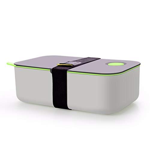Cadrim Bento Box Lunchbox mit Band Brotdose BPA Frei Luftdicht Auslaufsicher 2 Unterteilungen 1L für Erwachsene, Kinder Spülmaschinen, Mikrowellenfest (Grün)