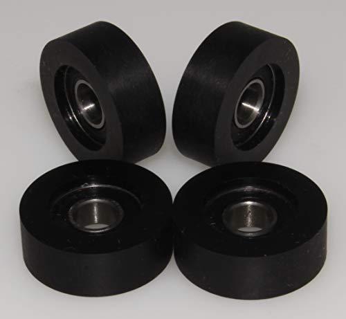4-er Pack Hartgummirollen aus Polyurethan (PU), hergestellt in der EU, 28 mm Diameter - 10 mm Wide, 4