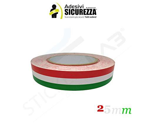 StickersLAb - Fascia banda adesiva Tricolore bandiera Italia a strisce in 5 misure (2,5cm, Lunghezza - 1 metro)
