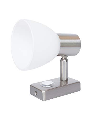 lighteu, 12V 3W D1 Decken- / Wandstrahler, Nickel-Finish, Nachttischlampe, Leselampe drehen und schwenken mit Touch-Schalter Dimmbares warmweißes/blaues Licht für Yacht, Caravan, RV