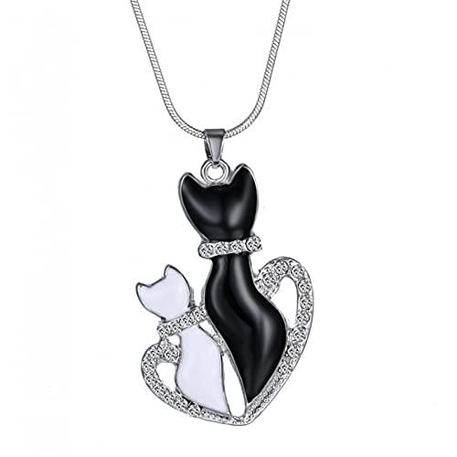 SOTUVO Collar de Gato de Pareja Blanco y Negro de Metal esmaltado para Mujer, Collar de Animales, Colgante para Amantes, Regalo, corazón, mamá y niños, joyería de Regalo para Madre