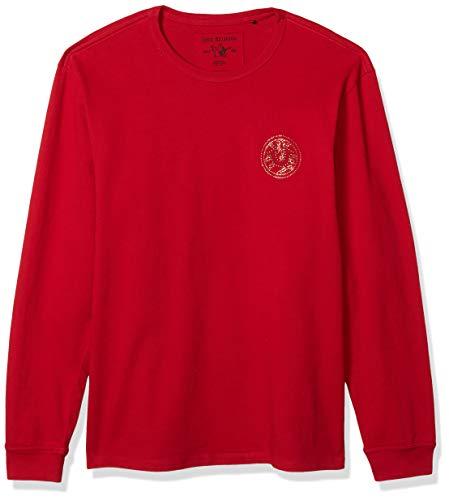 True Religion Men's Long Sleeve Varsity Crewneck Shirt, Ruby Red, XX-Large