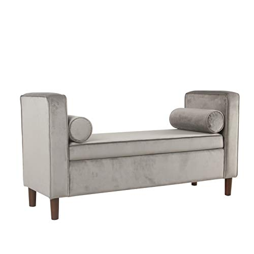 HomePop Rimo Upholstered Armed Storage Bench with Pillows Light Gray