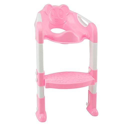 Asiento de entrenamiento para inodoro infantil para bebé con orinal plegable con escalera ajustable Orinal portátil Asiento para inodoro con orinal para niños Universal-Rosa