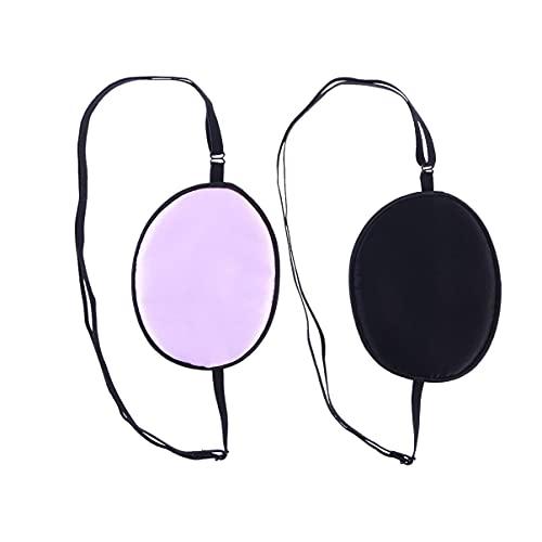 ULTNICE 2 Stück elastische Seide Augenklappe faul Auge Amblyopie Strabismus (schwarz und lila)