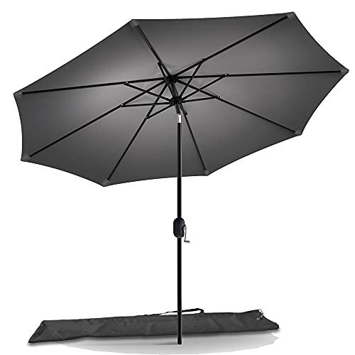 VOUNOT 270 cm Sombrilla Playa Grande, Parasol Terraza Inclinable con Manivela y Funda Protectora, Protección UV para Patio, Jardín, Piscina, Exterior, Gris