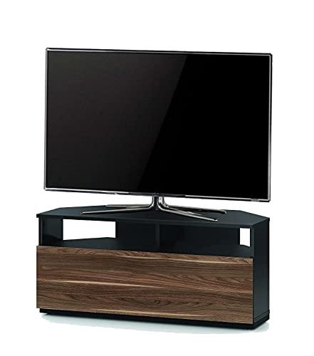 """Sonorous TRD100 Meuble TV d'angle Noir et Noyer 100 cm pour TV jusqu'à 50"""""""