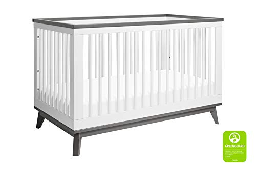 Babyletto Scoot 3-in-1 Convertible Crib with Toddler Bed Conversion Kit, White/Slate