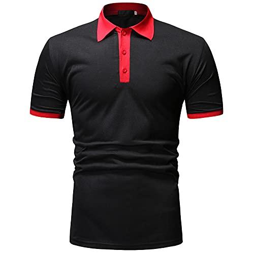 Shirt Manga Corta Verano Hombre con Botones Tapeta Hombre Polo Autocultivo Elástico Deportivo Hombre Shirt Casual Golf Negocios Hombre T-Shirt G-Black Red XXL