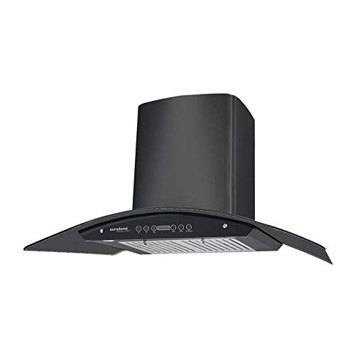 Eurodomo 90 cm 1200 m³/hr Auto-Clean curved glass Kitchen Chimney (Hood Classy HC TC 90, Baffle Filter, Touch Control, Black)