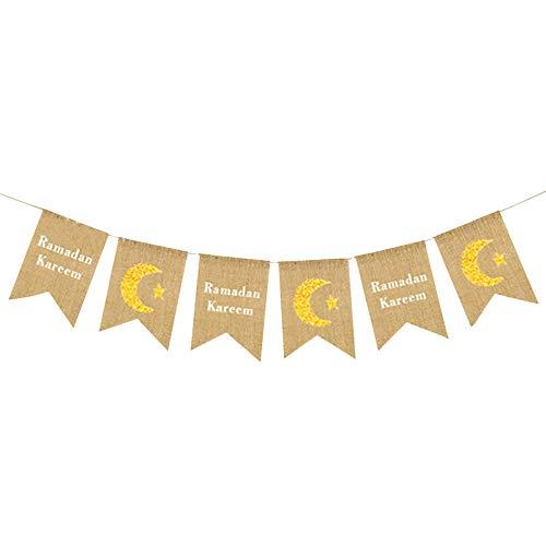 IILOOK Islamisch Pull Flag Eid al-Fitr Festival Einkaufszentrum Shop Szene Layout liefert hängen Flagge Wimpel Bunting Banner Sackleinen Fahnen Leinen Schwalben Schwanz Party Dekoration Lieferungen