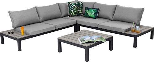 Kare Design Outdoor Sitzgruppe Holiday, Loungemöbel Outdoorlounge, XXL Lounge Möbel Balkon, Gartenmöbelsitzgruppe, inkl. Tisch, Sitz -u. Rückenkissen, Schwarz-Grau (H/B/T)63x246x246cm