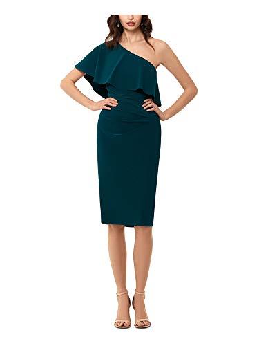Xscape Womens Green Sleeveless Asymmetrical Neckline Below The Knee Sheath Cocktail Dress Size 8