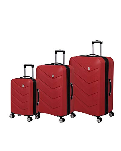 it luggage Chevron 8-Wheel Hardside Expandable 3-Piece Set, Red