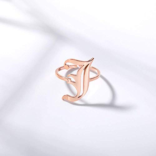 Zaaqio Open Rings For Women, Unisex Adjustable Stainless Steel Ring Old Initial Letter J Alphabet Rose Gold Ring Jewelry Accessories For Anniversary Celebration Birthday Gift
