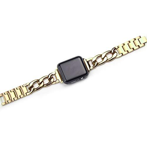 Compatible para Apple Watch cadena Correa de acero inoxidable Serie 6 SE 5 4 3 40 / 44mm Pulsera para iwatch se 6 38 / 42mm Correa de reloj-oro, 40mm
