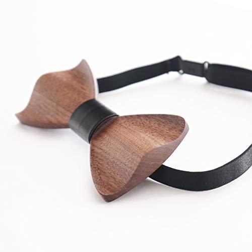 HMF 3850-02 Holzfliege Männer | Handarbeit | Walnuss | 6 x 12 x 1 cm | schwarz