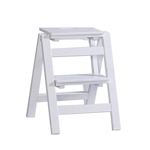 GG.S Taburete Plegable De Escalera De Madera De 2 Escalones Taburete De Escalera De Escalada Interior Y Exterior For El Hogar (Color : White)