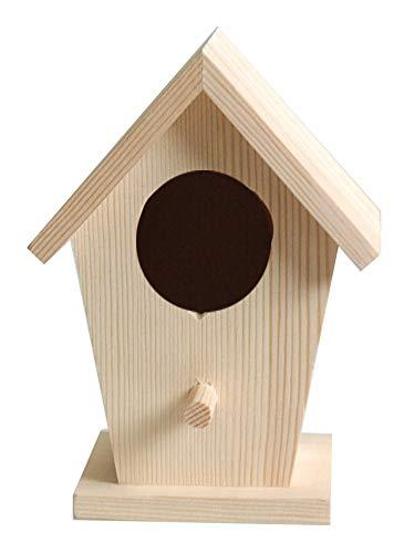 Artemio - Casetta per Gli Uccellini, in Legno, 7,5 x 7 x 14 cm, Colore: Beige